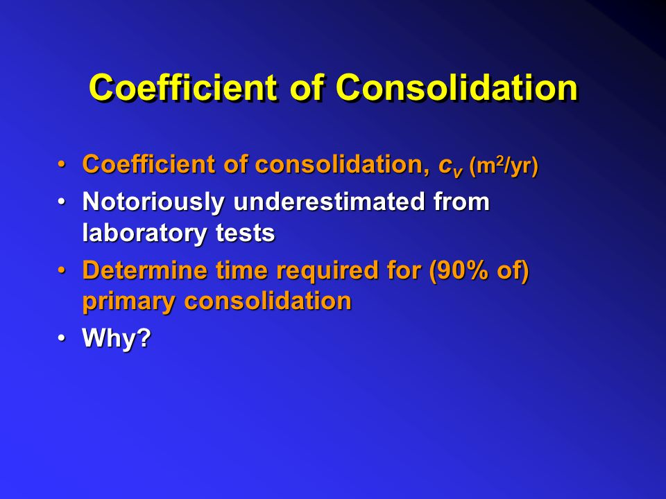 Coefficient of Consolidation