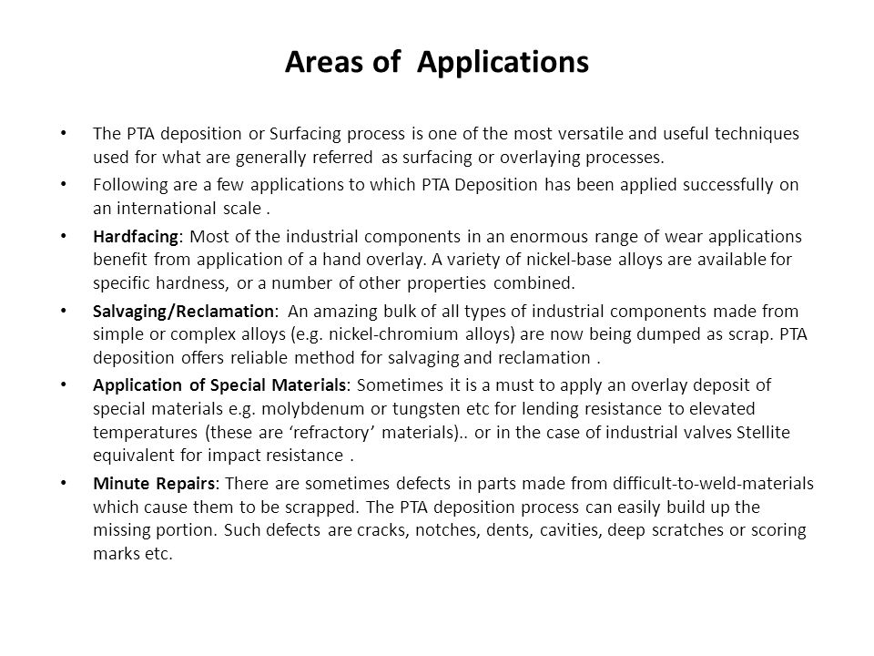 Areas of Applications