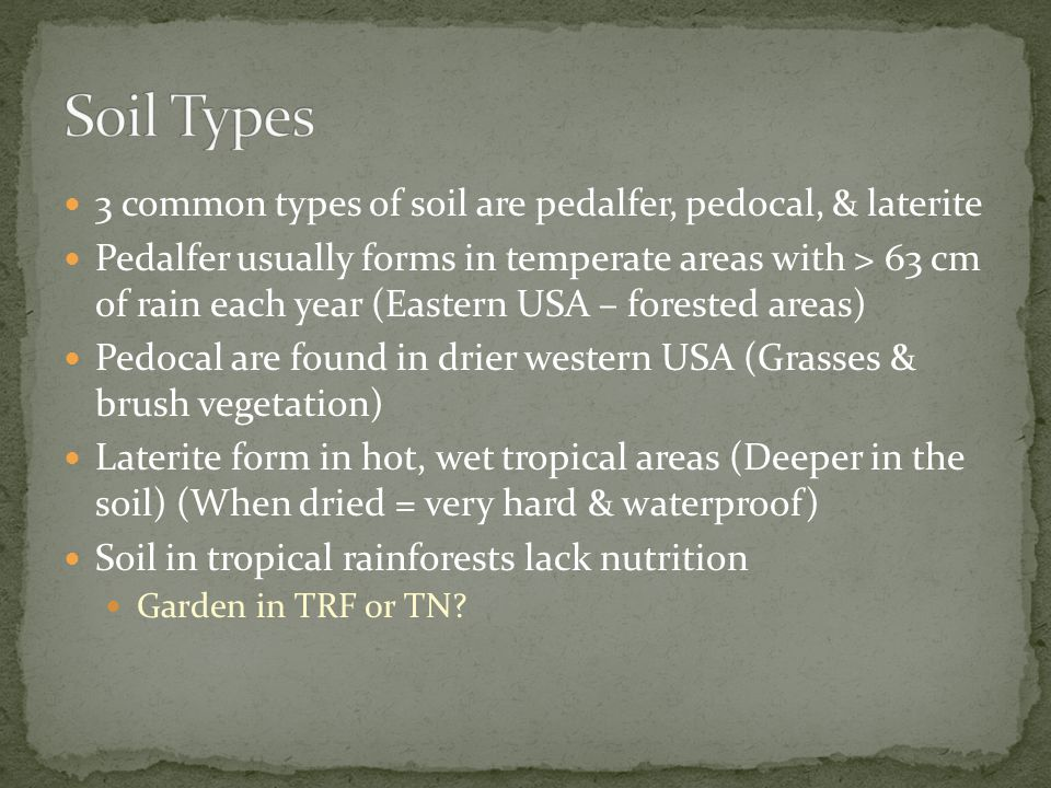Soil Types 3 common types of soil are pedalfer, pedocal, & laterite