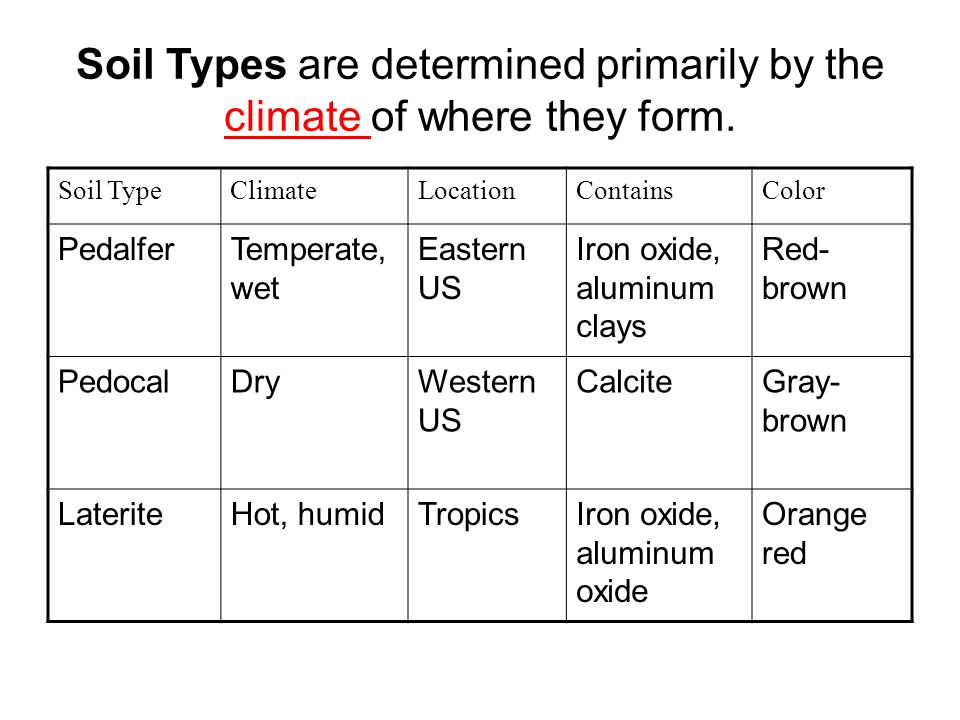 Soil Types are determined primarily by the climate of where they form.