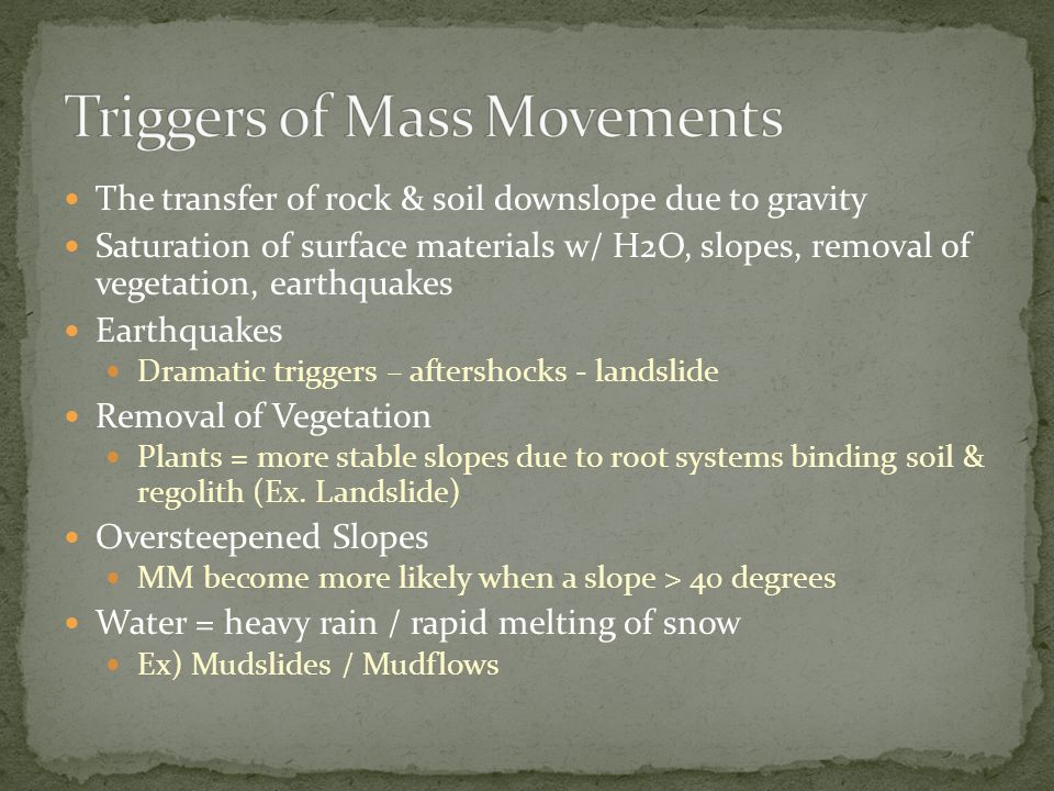 Triggers of Mass Movements