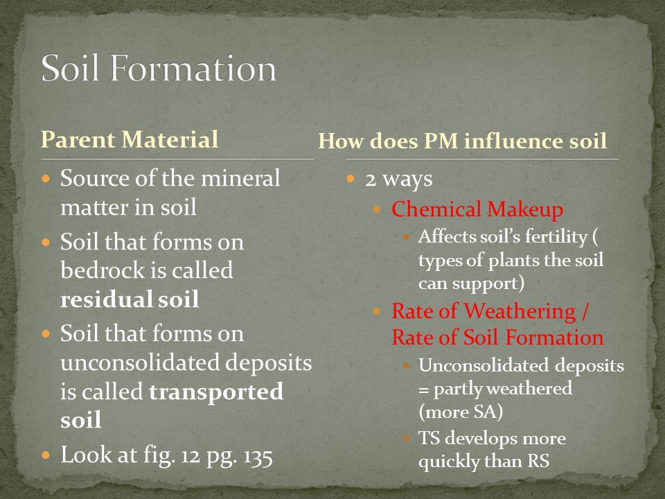 Soil Formation Parent Material Source of the mineral matter in soil