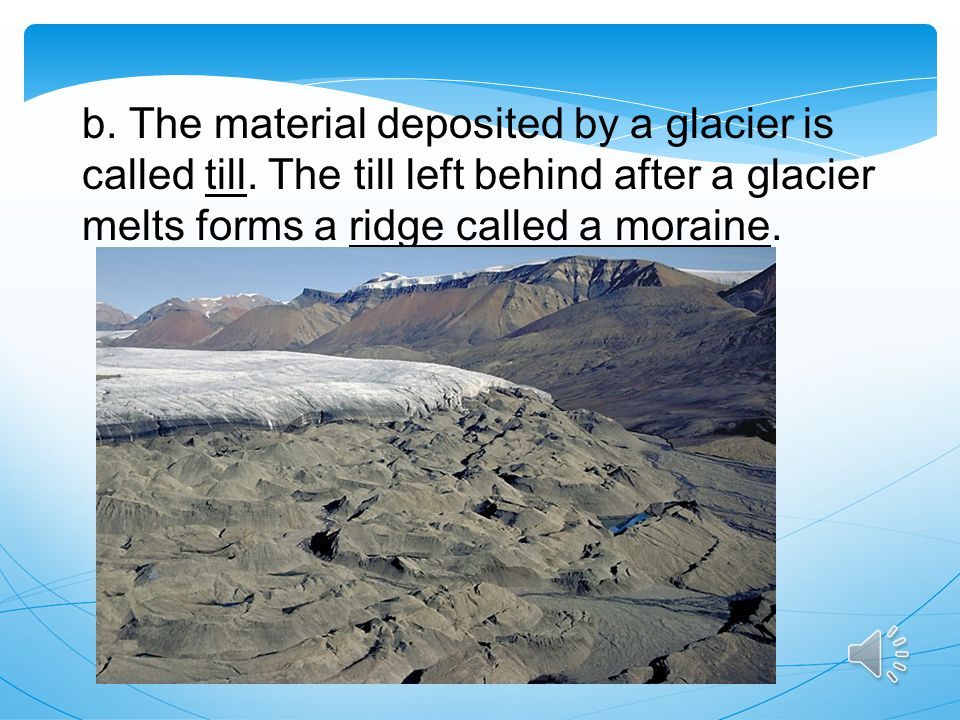 b. The material deposited by a glacier is called till