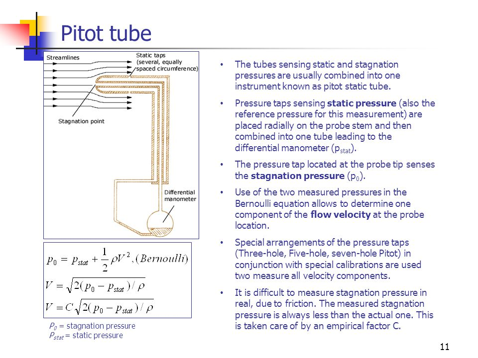 Pitot tube The tubes sensing static and stagnation pressures are usually combined into one instrument known as pitot static tube.