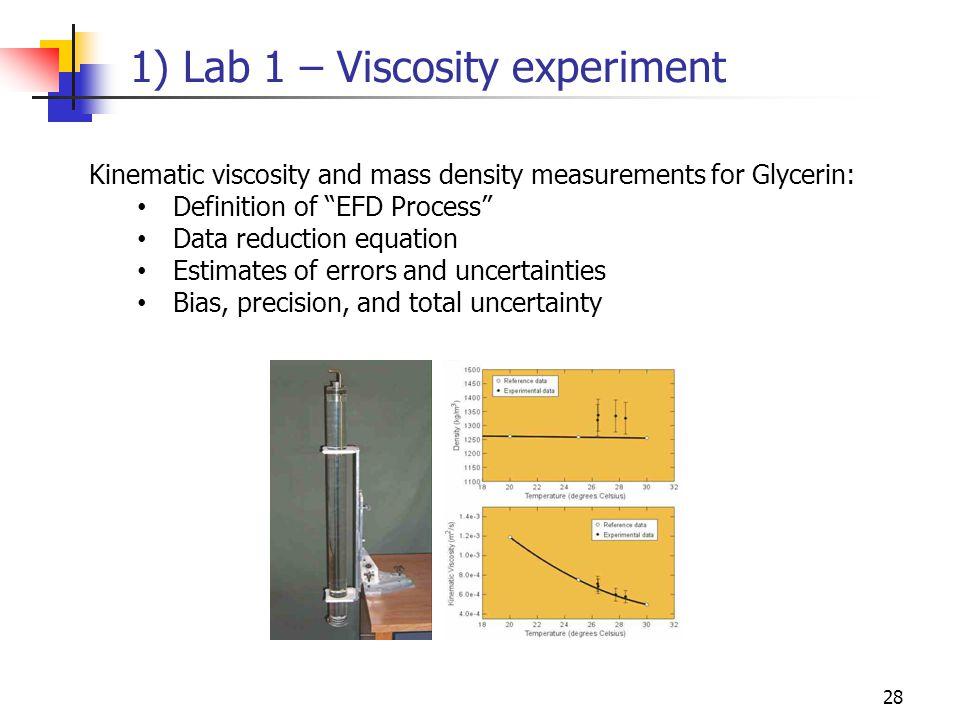 1) Lab 1 – Viscosity experiment