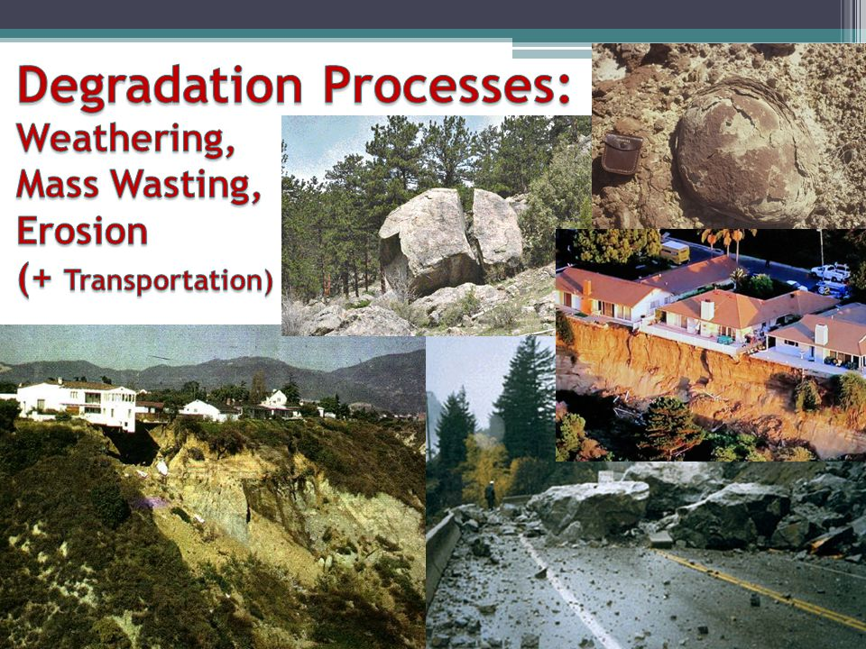 Degradation Processes: Weathering, Mass Wasting, Erosion (+ Transportation)