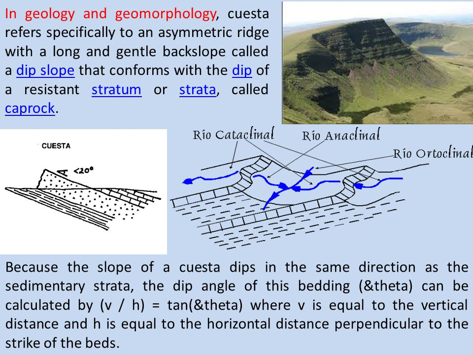 In geology and geomorphology, cuesta refers specifically to an asymmetric ridge with a long and gentle backslope called a dip slope that conforms with the dip of a resistant stratum or strata, called caprock.