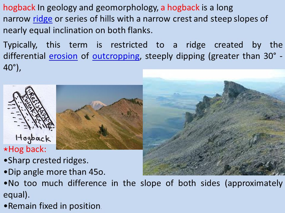 hogback In geology and geomorphology, a hogback is a long narrow ridge or series of hills with a narrow crest and steep slopes of nearly equal inclination on both flanks.
