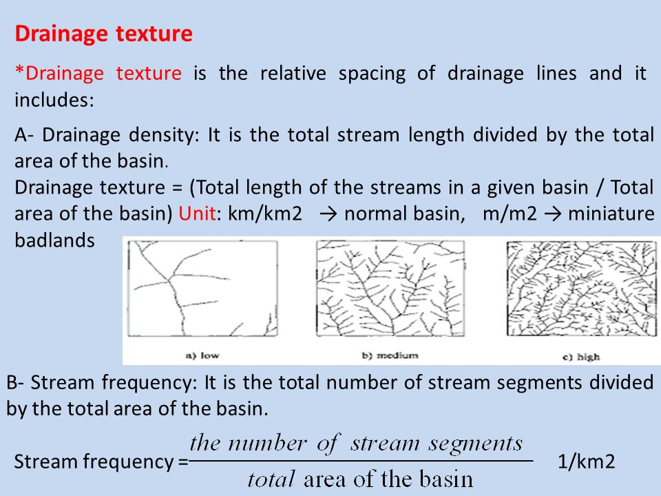 Drainage texture *Drainage texture is the relative spacing of drainage lines and it includes: