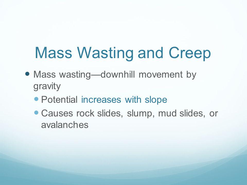 Mass Wasting and Creep Mass wasting—downhill movement by gravity