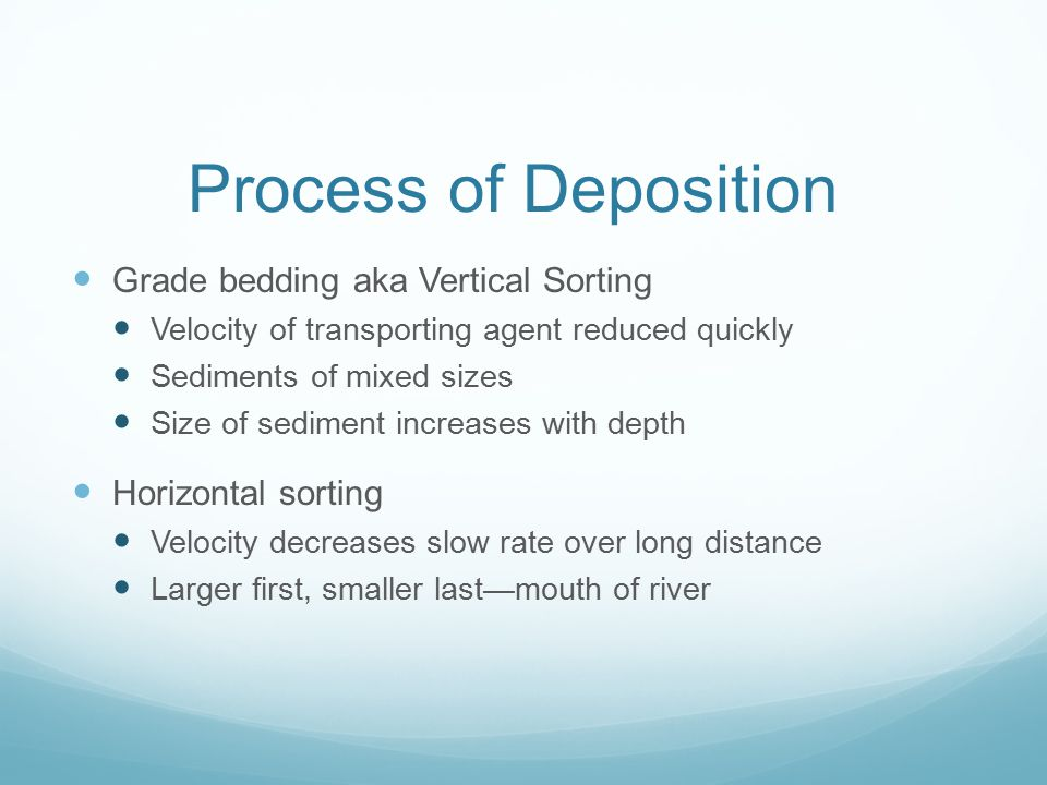 Process of Deposition Grade bedding aka Vertical Sorting