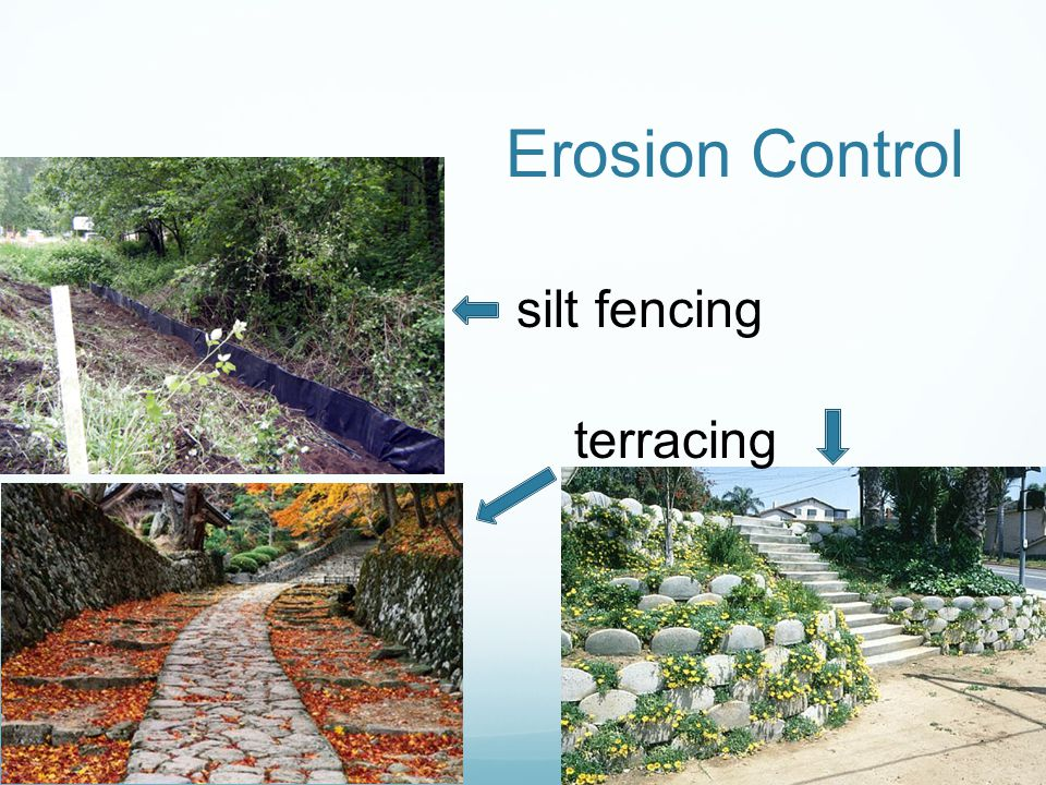 Erosion Control silt fencing terracing