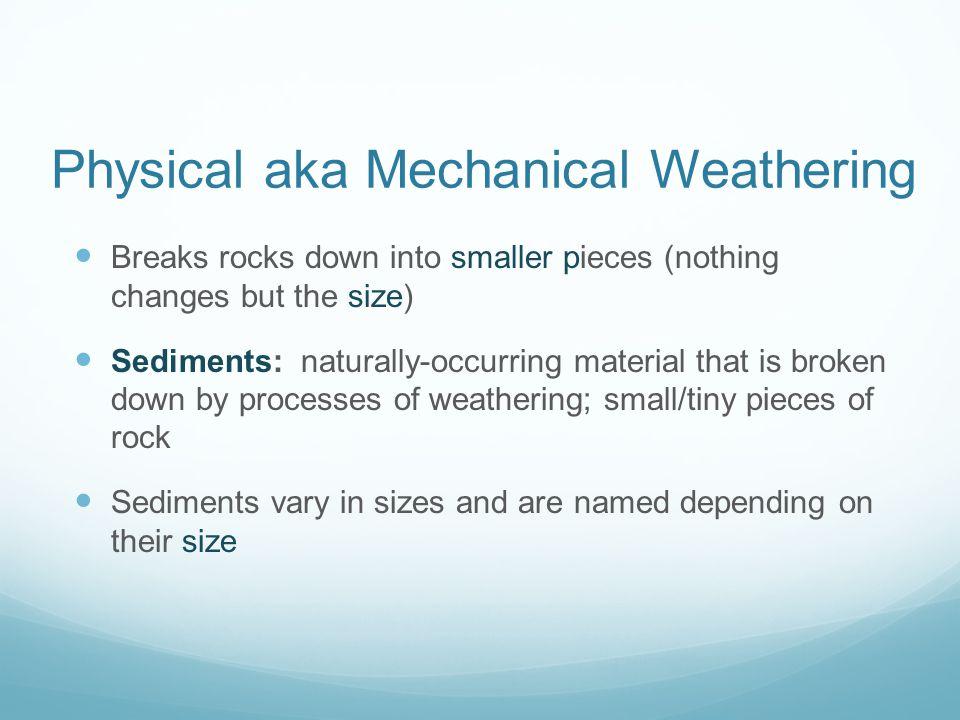 Physical aka Mechanical Weathering