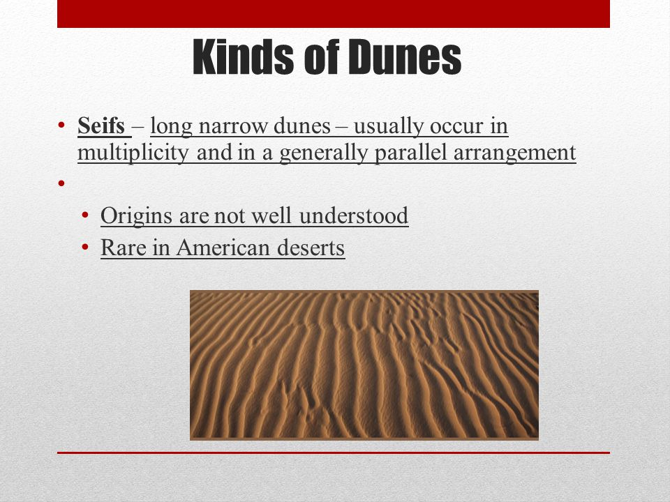 Kinds of Dunes Seifs – long narrow dunes – usually occur in multiplicity and in a generally parallel arrangement.