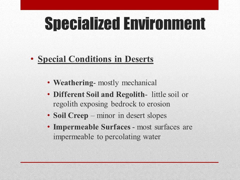 Specialized Environment