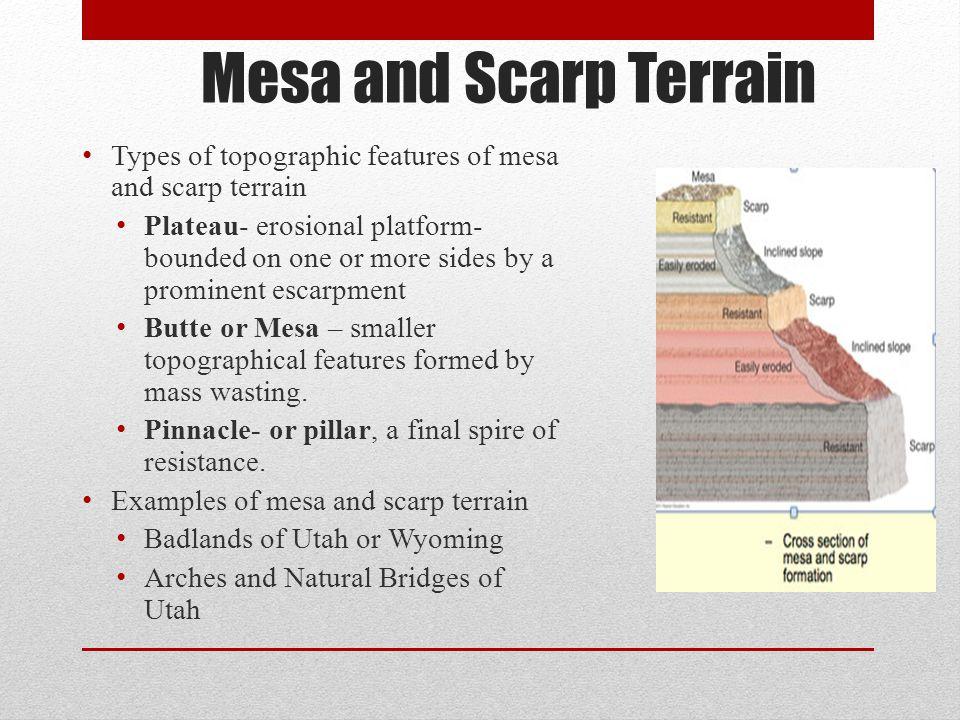 Mesa and Scarp Terrain Types of topographic features of mesa and scarp terrain.