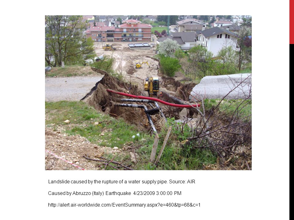 Landslide caused by the rupture of a water supply pipe. Source: AIR