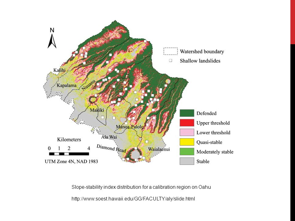 Slope-stability index distribution for a calibration region on Oahu