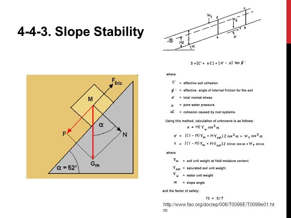 4-4-3. Slope Stability http://www.fao.org/docrep/006/T0099E/T0099e01.htm