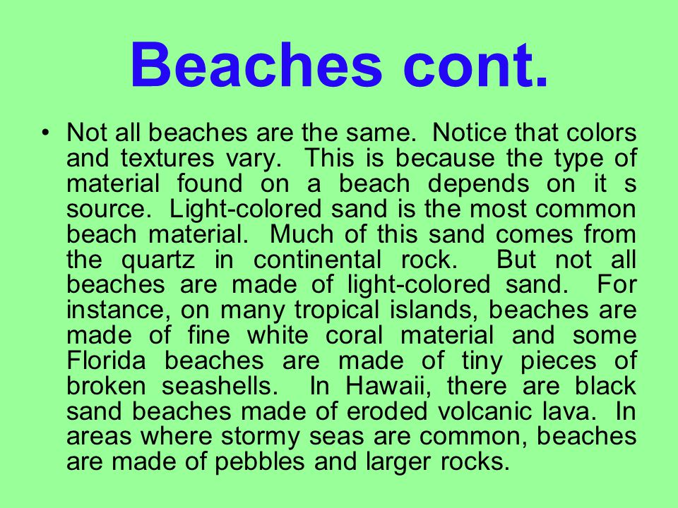 Beaches cont.