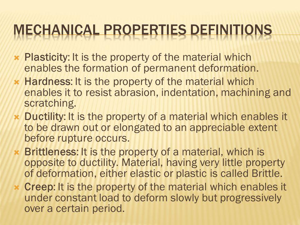 Mechanical properties definitions