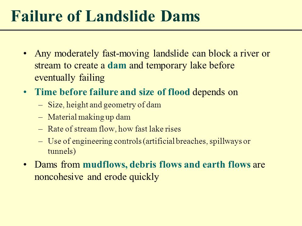 Failure of Landslide Dams