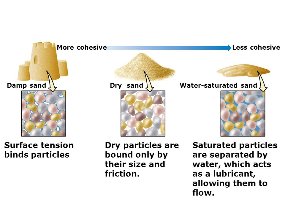 Surface tension binds particles