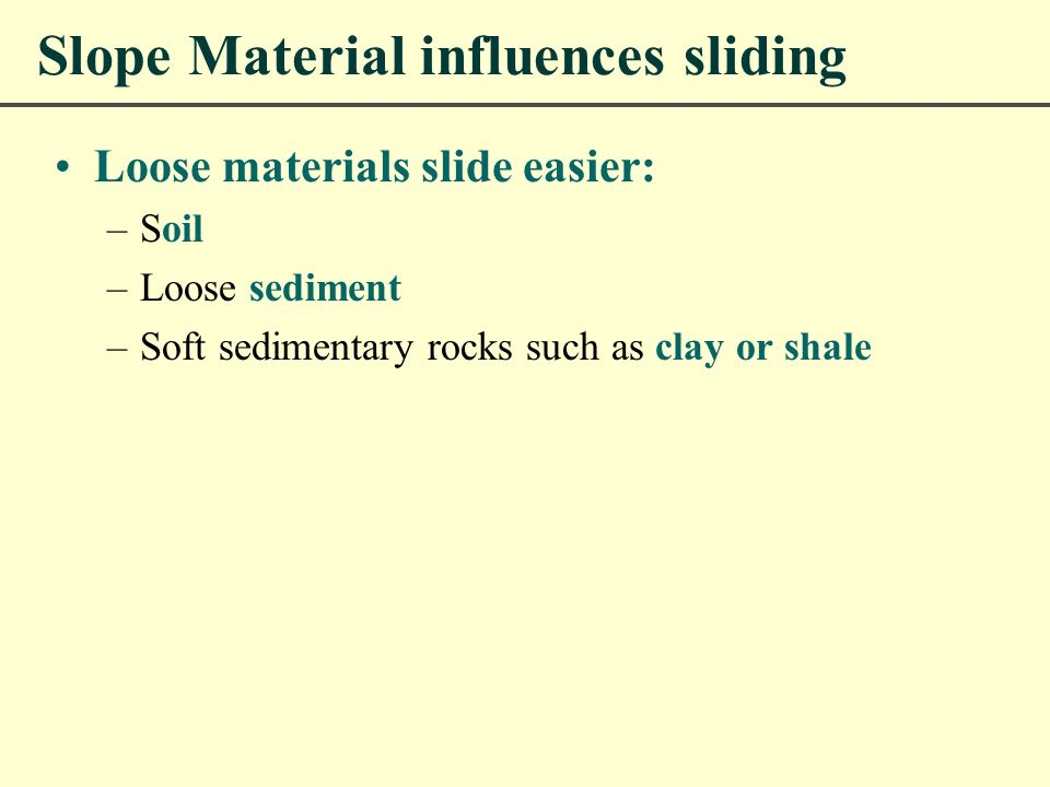 Slope Material influences sliding