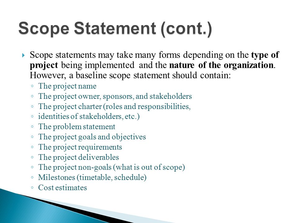 Scope Statement (cont.)