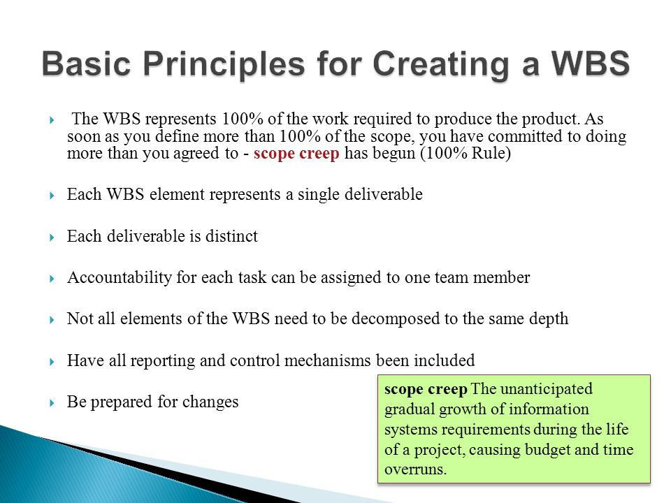 Basic Principles for Creating a WBS