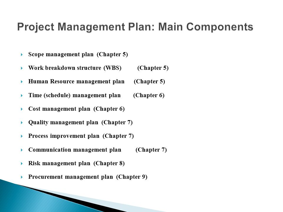 Project Management Plan: Main Components