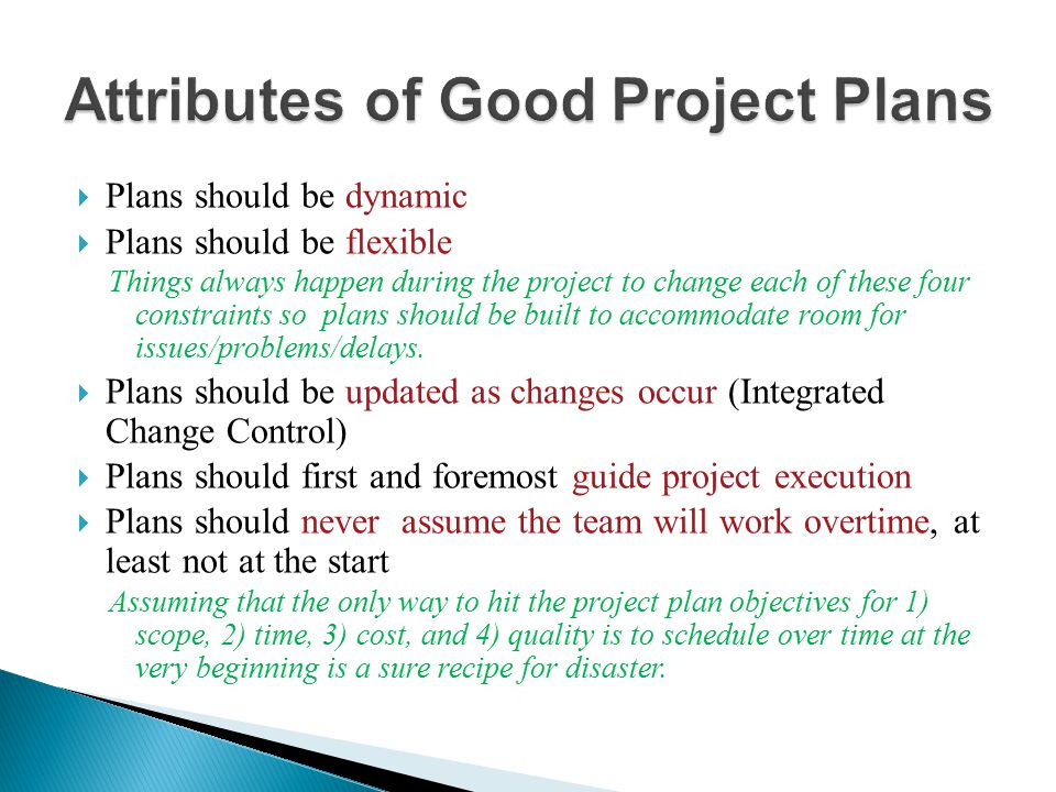 Attributes of Good Project Plans
