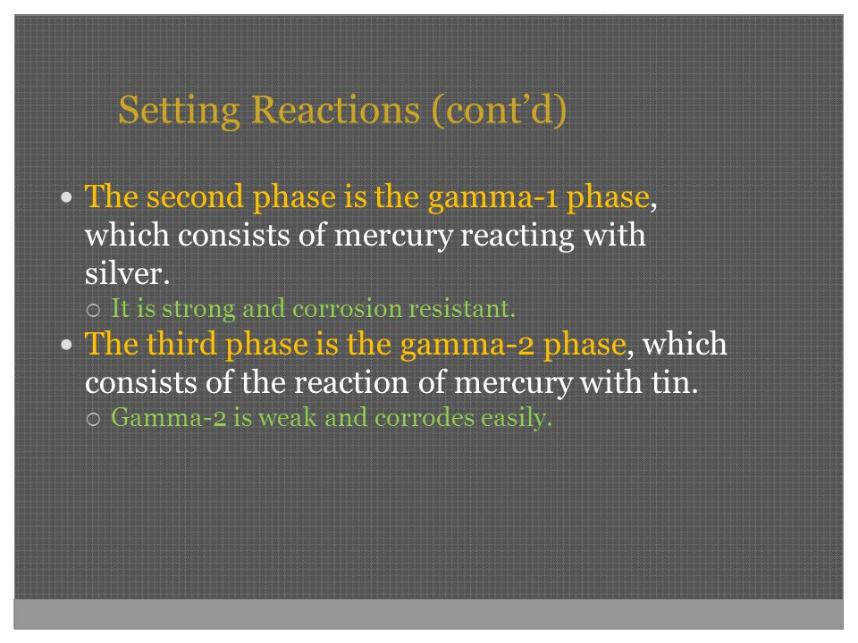 Setting Reactions (cont'd)