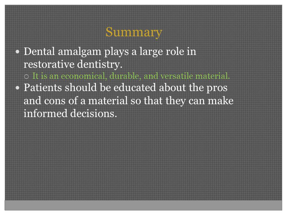 Summary Dental amalgam plays a large role in restorative dentistry.