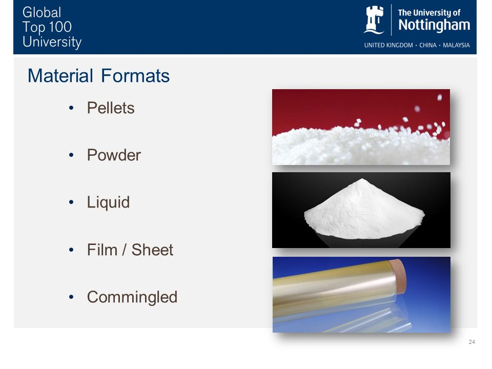 Material Formats Pellets Powder Liquid Film / Sheet Commingled