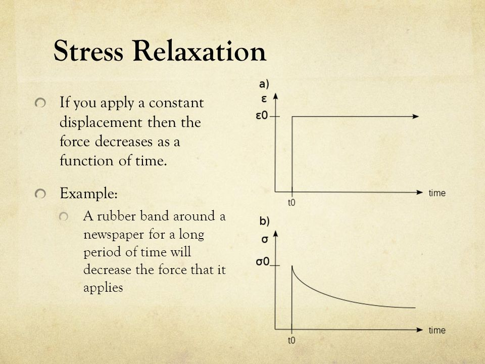 Stress Relaxation If you apply a constant displacement then the force decreases as a function of time.