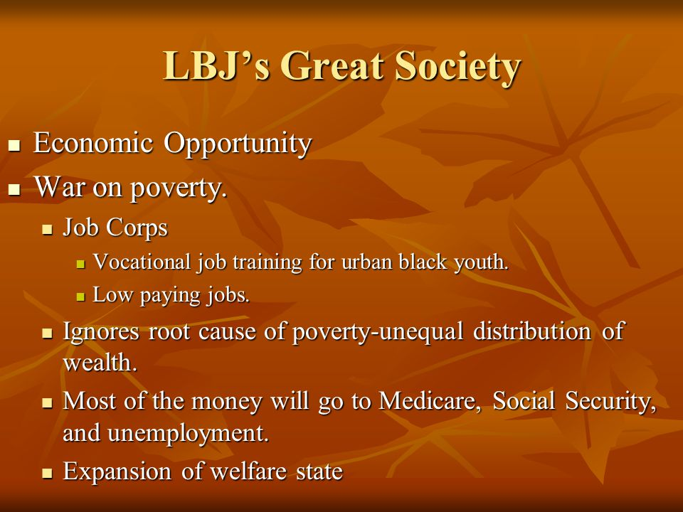 LBJ's Great Society Economic Opportunity War on poverty. Job Corps