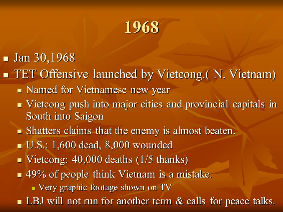 1968 Jan 30,1968 TET Offensive launched by Vietcong.( N. Vietnam)