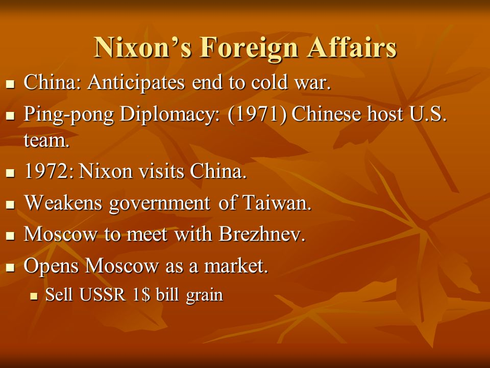 Nixon's Foreign Affairs