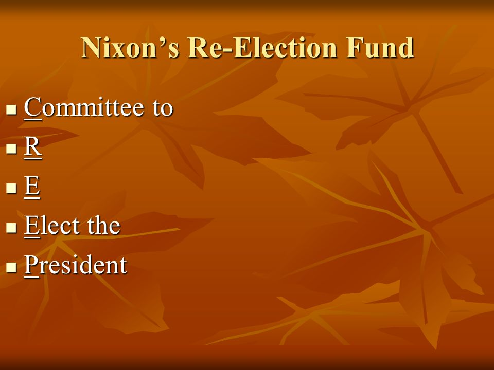 Nixon's Re-Election Fund
