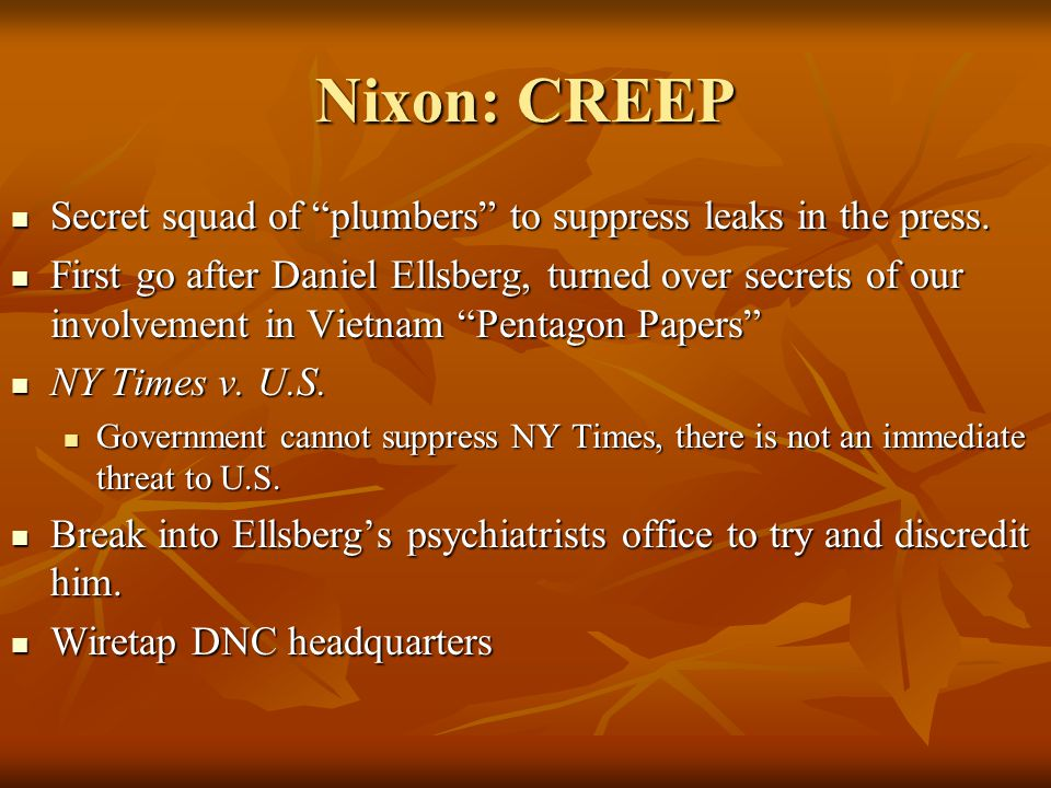 Nixon: CREEP Secret squad of plumbers to suppress leaks in the press.