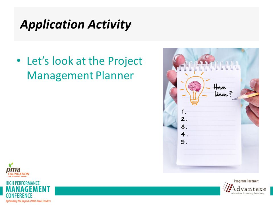 Application Activity Let's look at the Project Management Planner
