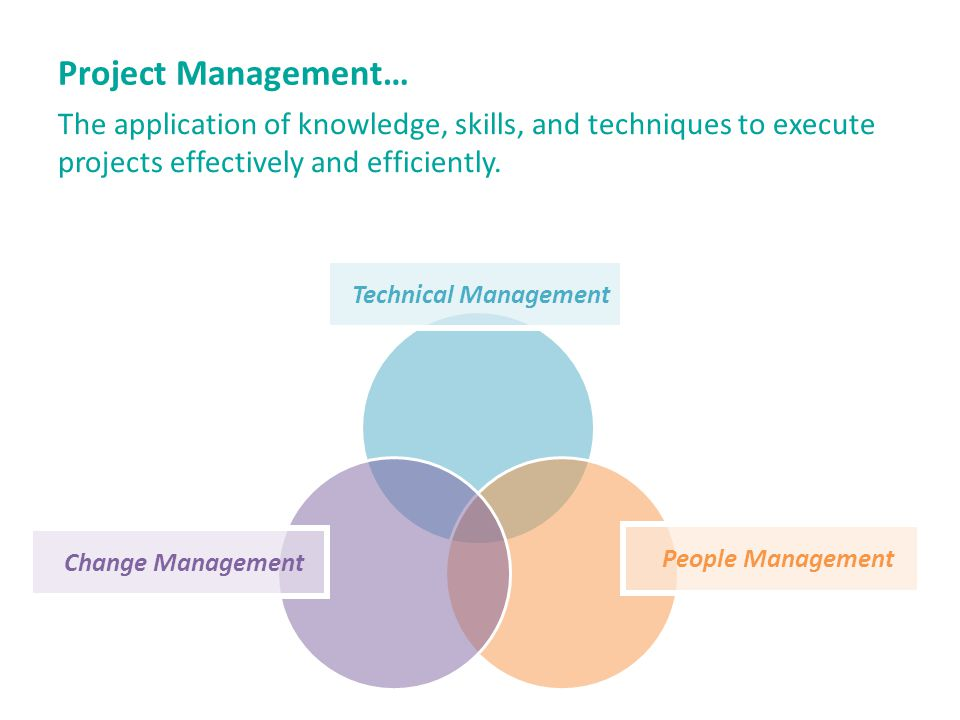 Project Management… The application of knowledge, skills, and techniques to execute projects effectively and efficiently.