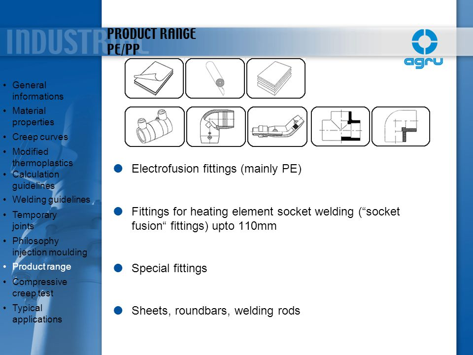 PRODUCT RANGE PE/PP Electrofusion fittings (mainly PE)