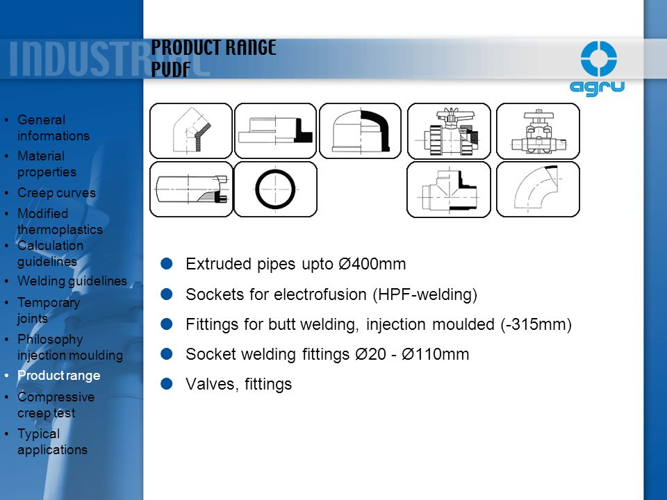 PRODUCT RANGE PVDF Extruded pipes upto Ø400mm