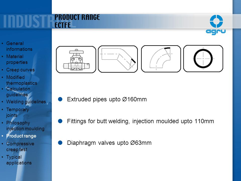 PRODUCT RANGE ECTFE Extruded pipes upto Ø160mm