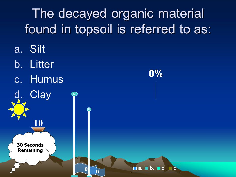 The decayed organic material found in topsoil is referred to as: