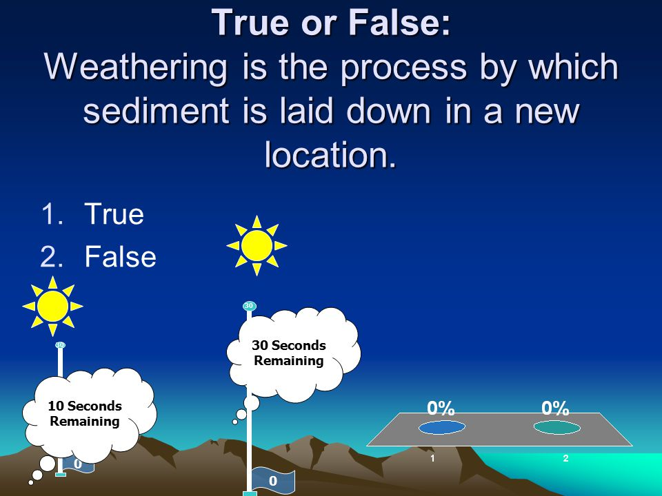 True or False: Weathering is the process by which sediment is laid down in a new location.