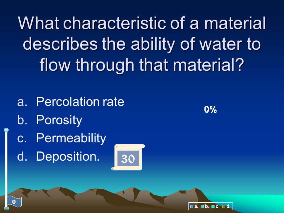What characteristic of a material describes the ability of water to flow through that material
