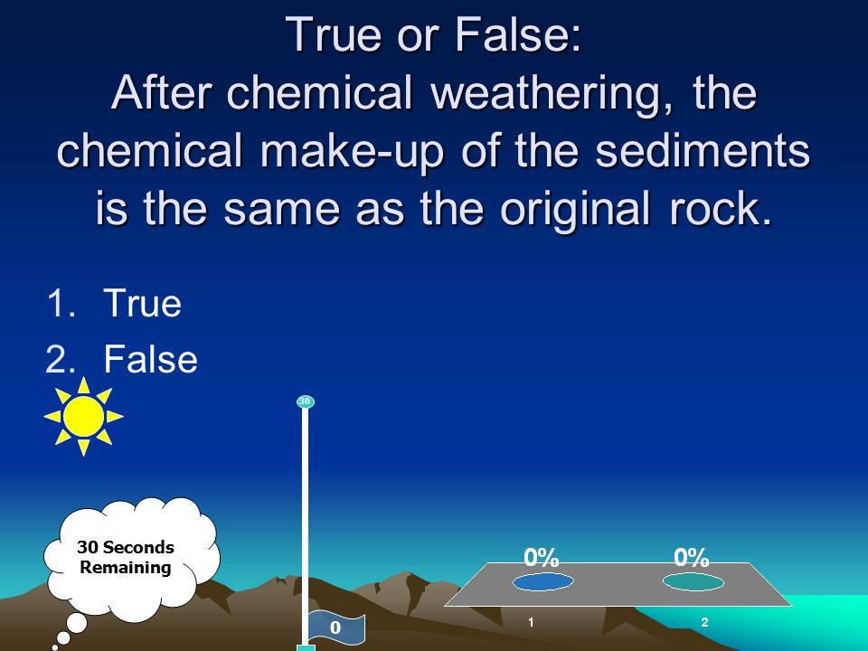 True or False: After chemical weathering, the chemical make-up of the sediments is the same as the original rock.